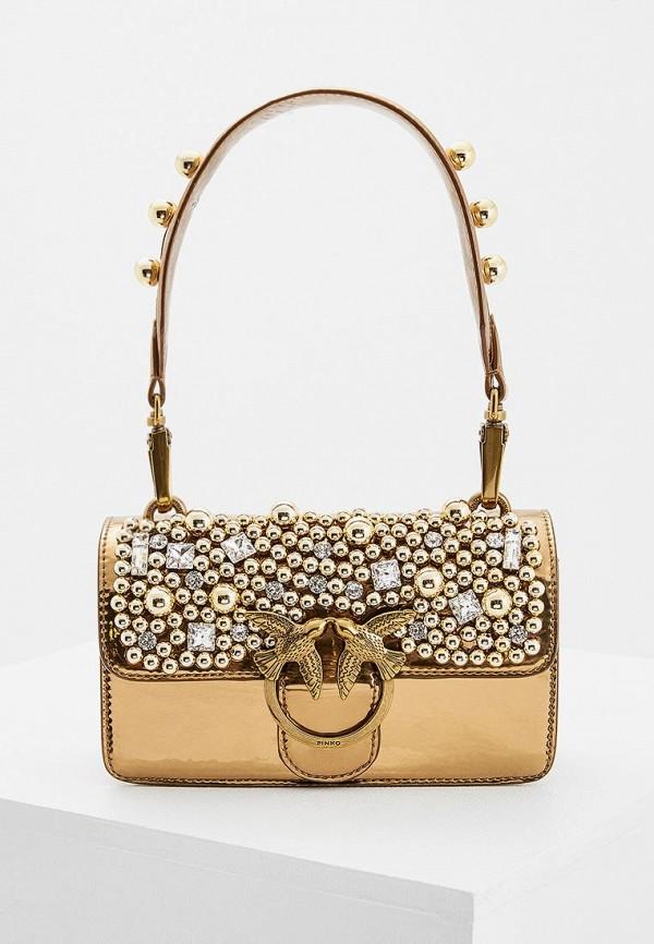 женская сумка pinko, золотая