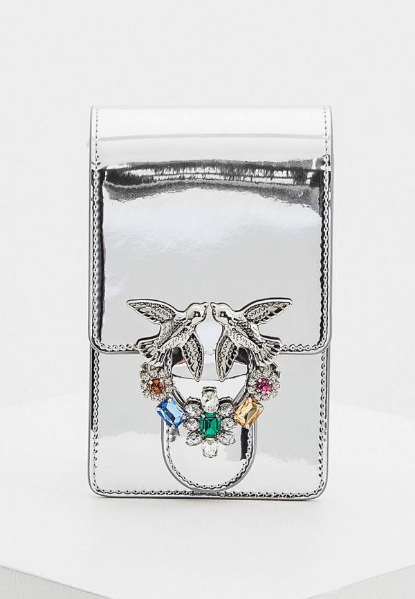 женская сумка pinko, серебряная