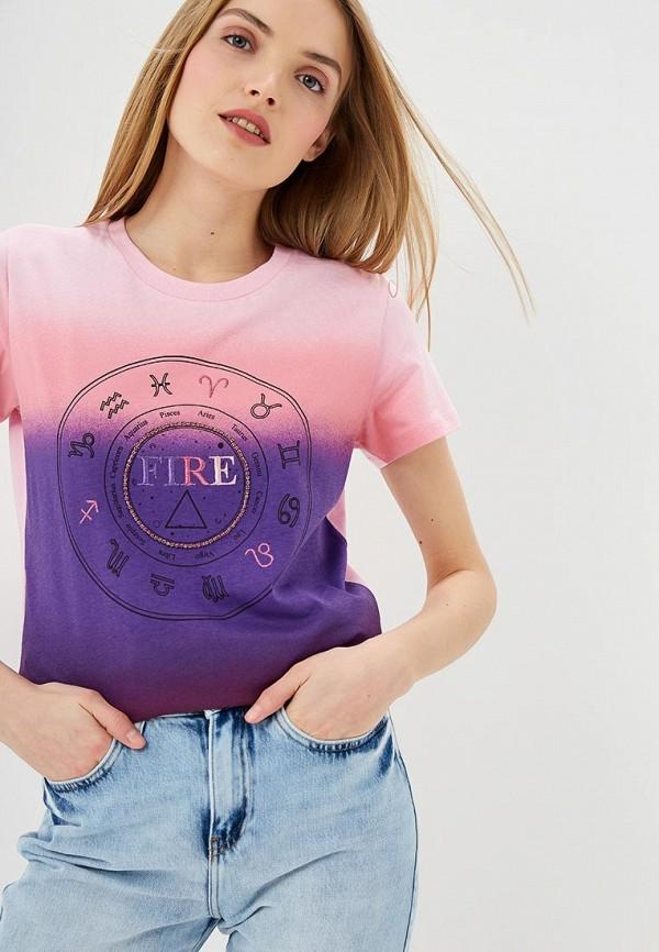 женская футболка pinko, розовая