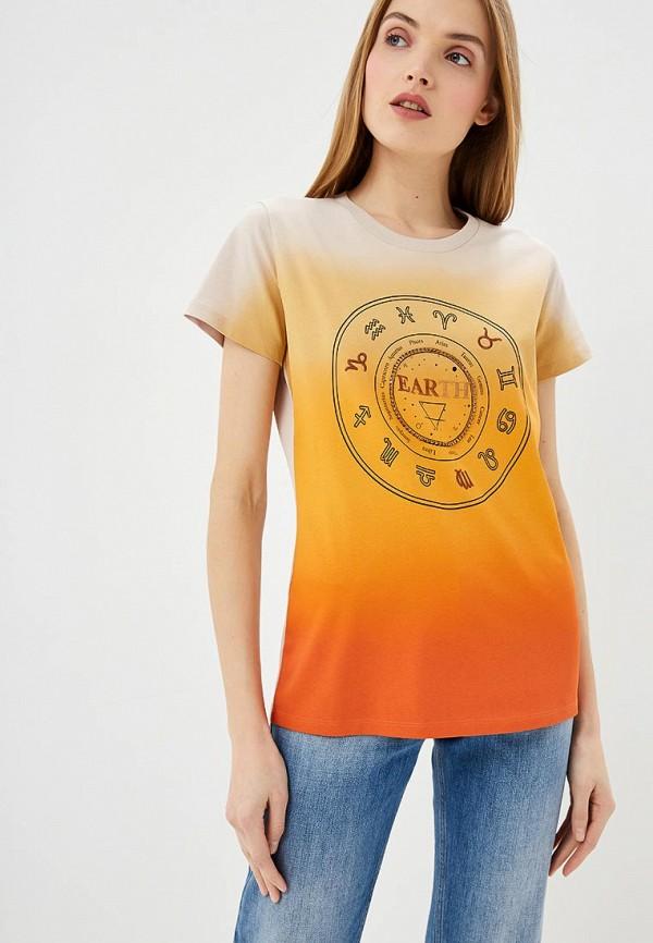 женская футболка pinko, бежевая