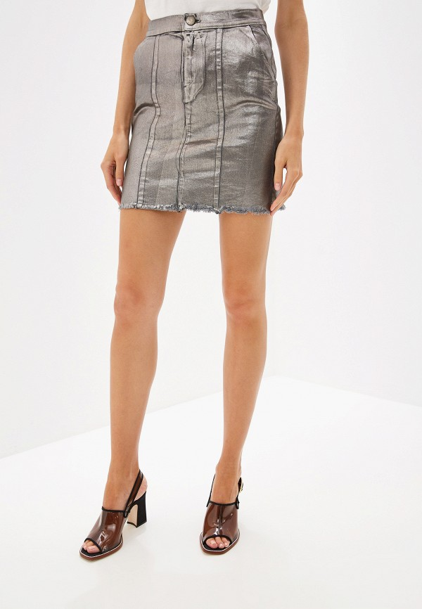 женская прямые юбка pinko, серебряная