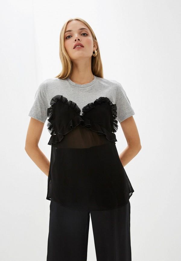 женская футболка pinko, серая