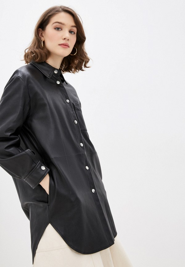 женская рубашка с длинным рукавом pinko, черная