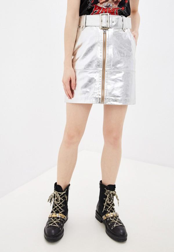 женская юбка pinko, серебряная