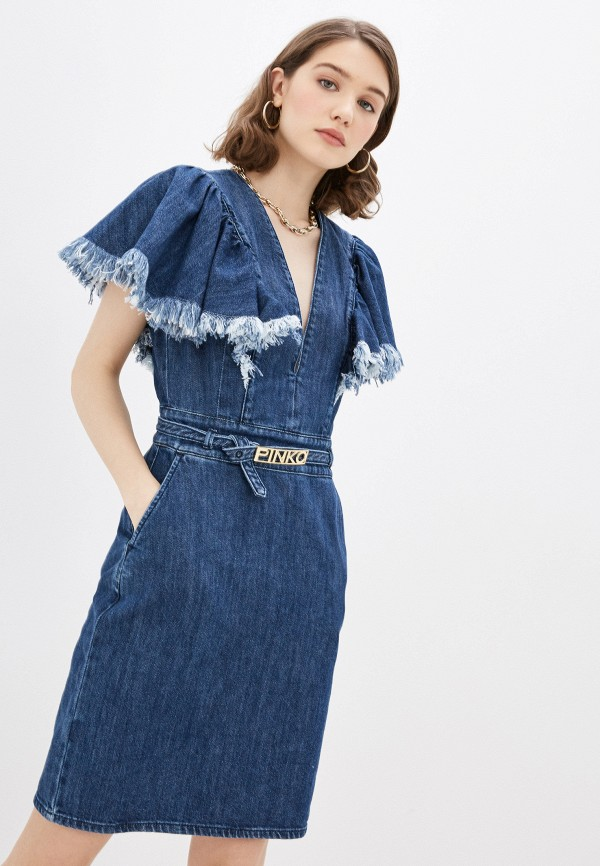 женское джинсовые платье pinko, синее