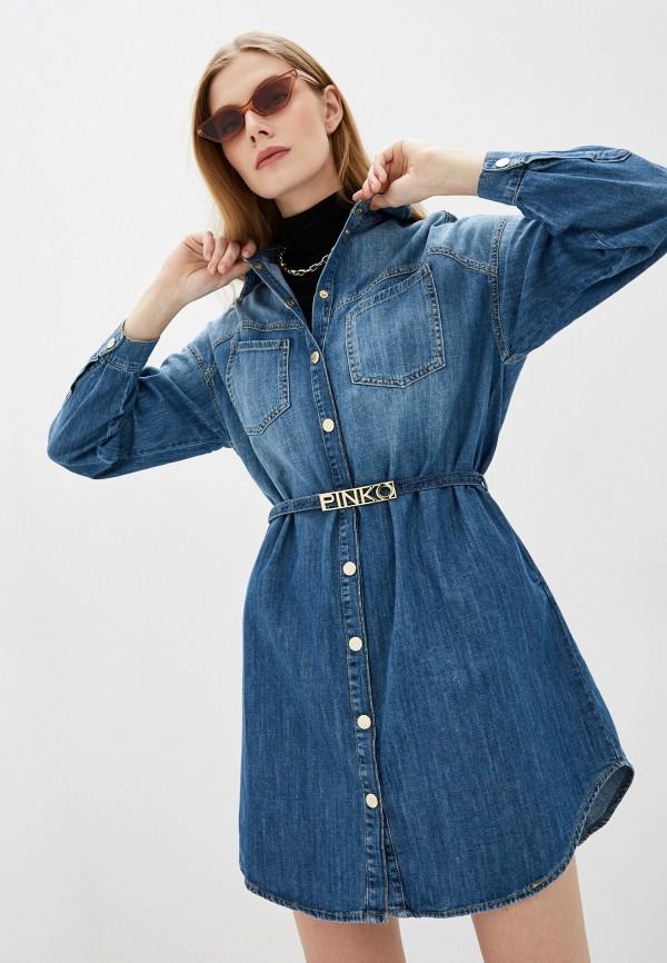 женское джинсовые платье pinko, голубое