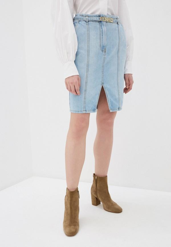 женская джинсовые юбка pinko, голубая