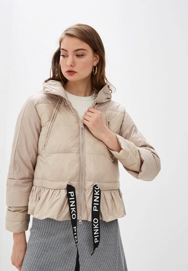 женская куртка pinko, бежевая