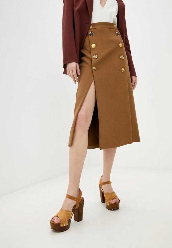 женская прямые юбка pinko, коричневая