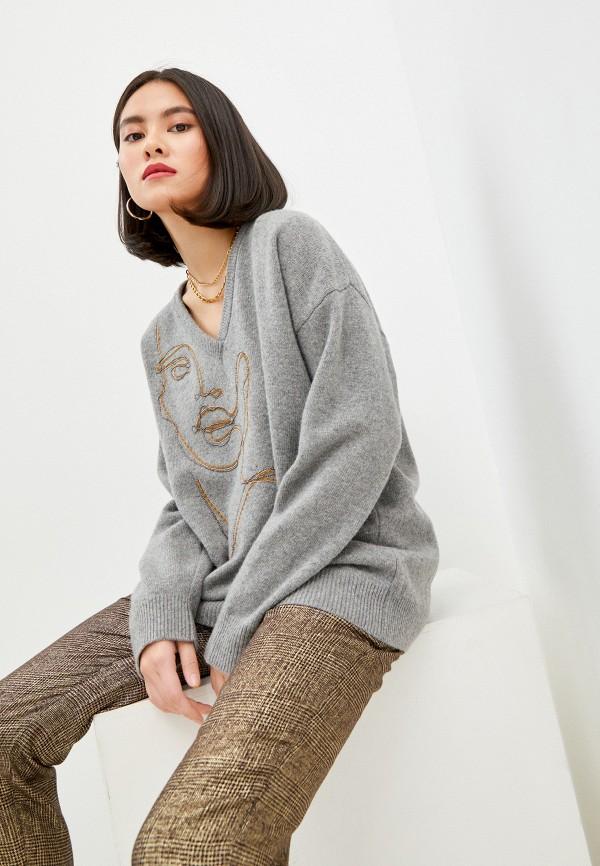 женский пуловер pinko, серый