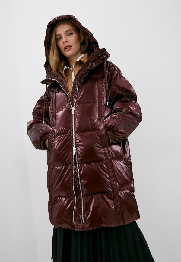 женская куртка pinko, бордовая