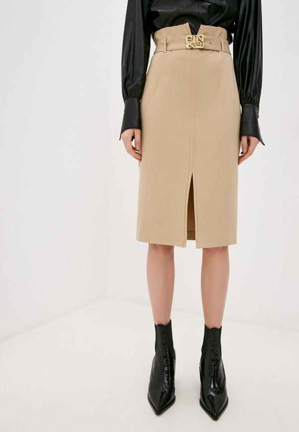 женская прямые юбка pinko, бежевая