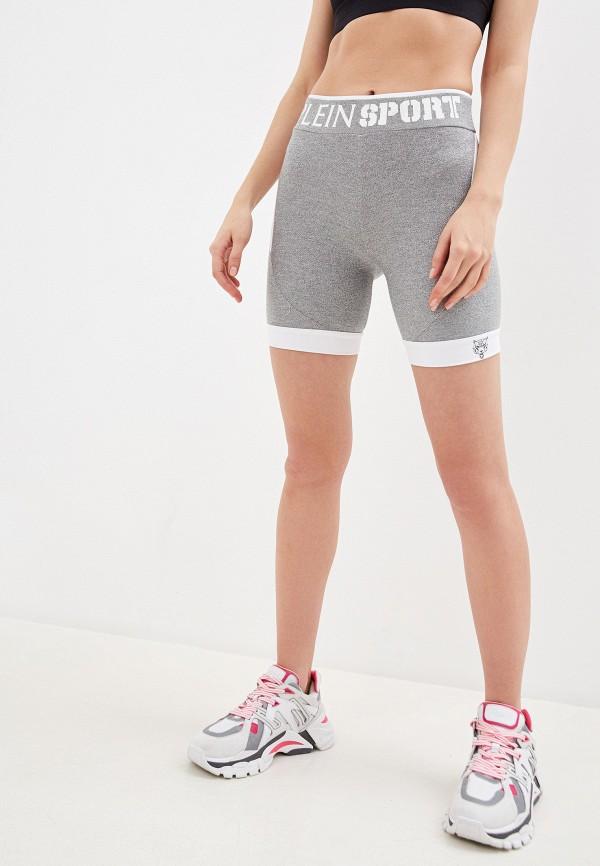 женские спортивные шорты plein sport, серебряные