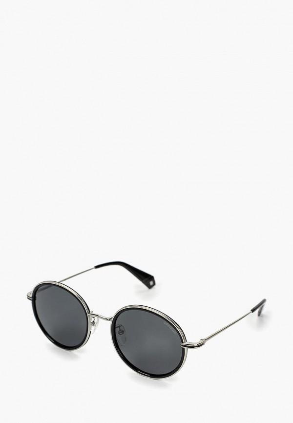 женские круглые солнцезащитные очки polaroid, серебряные