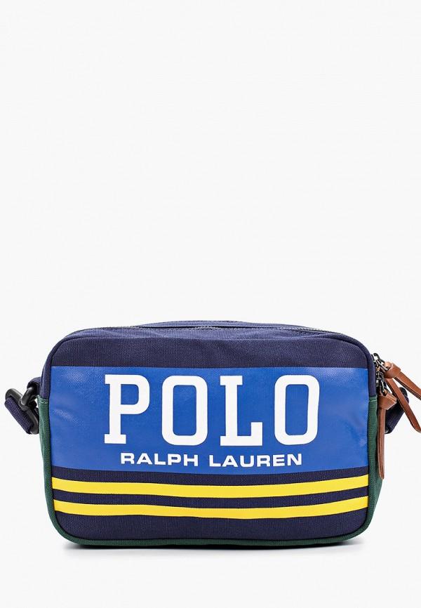 мужская сумка через плечо polo ralph lauren, синяя