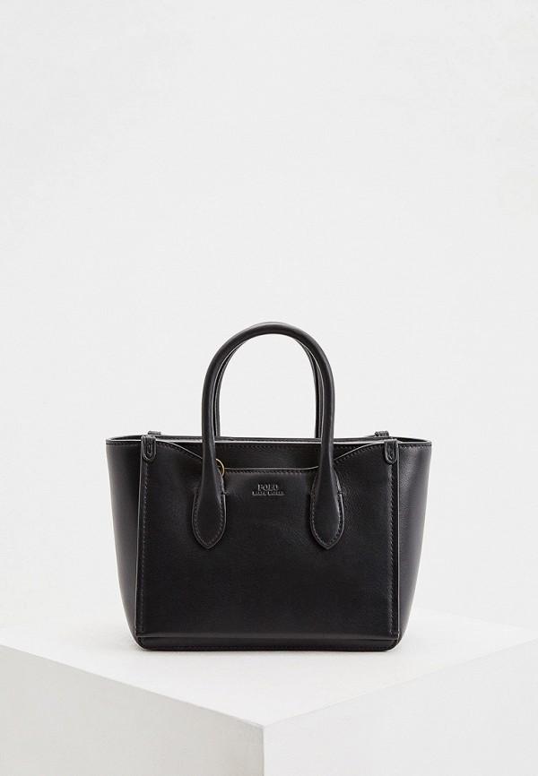 женская сумка с ручками polo ralph lauren, черная