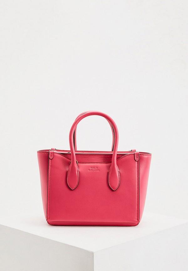 женская сумка с ручками polo ralph lauren, розовая