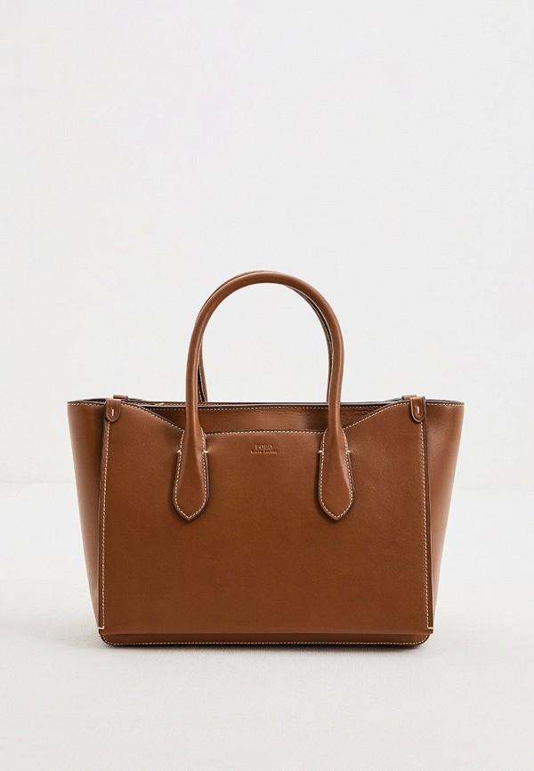 женская сумка с ручками polo ralph lauren, коричневая