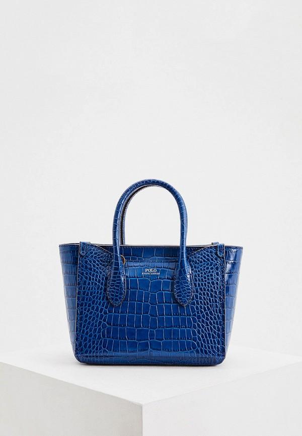 женская сумка с ручками polo ralph lauren, синяя