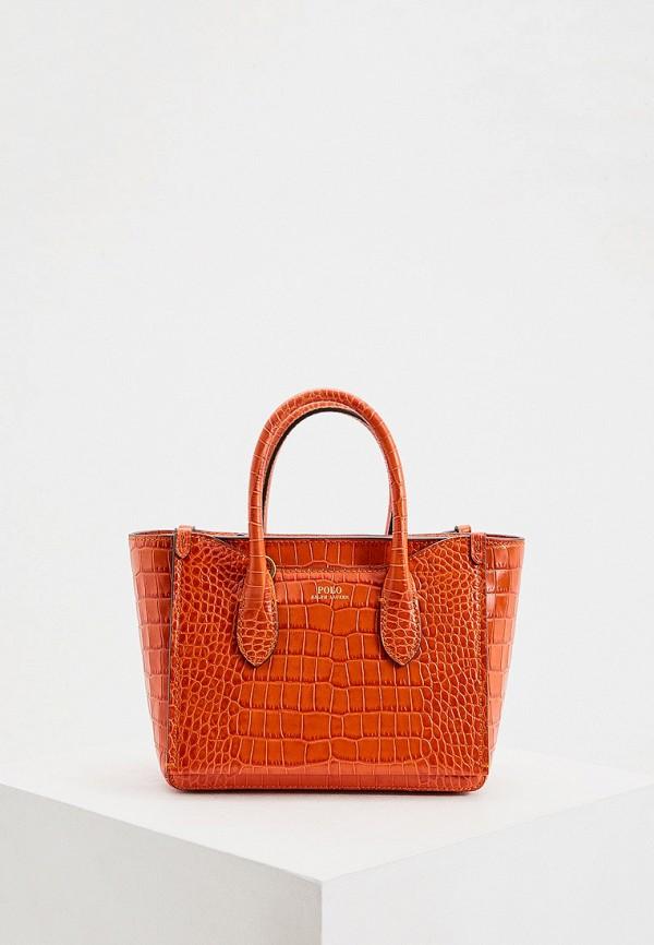 женская сумка с ручками polo ralph lauren, оранжевая