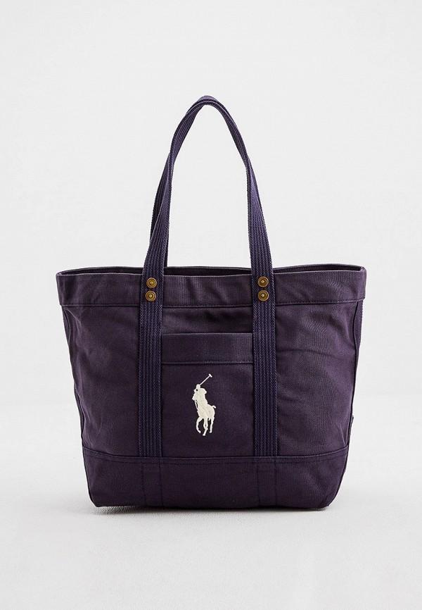 женская сумка-шоперы polo ralph lauren, синяя