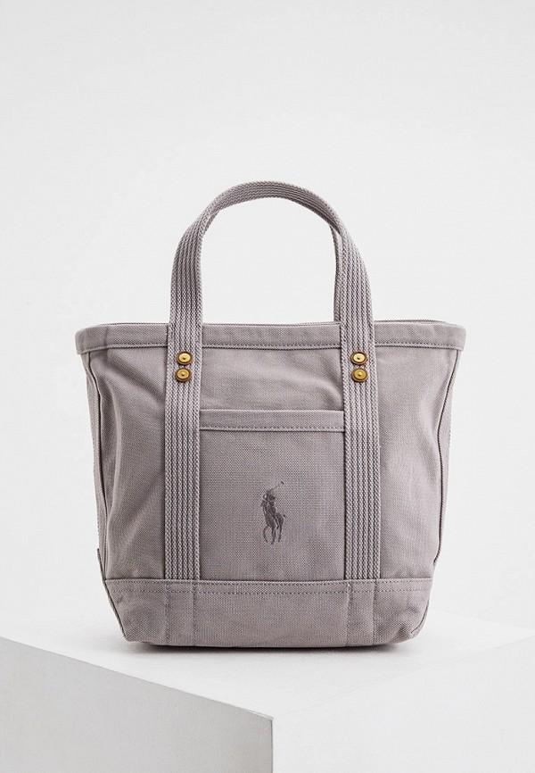 женская сумка с ручками polo ralph lauren, серая