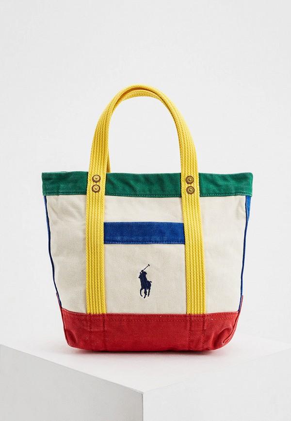 женская сумка с ручками polo ralph lauren, разноцветная