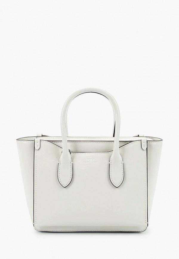 женская сумка с ручками polo ralph lauren, белая