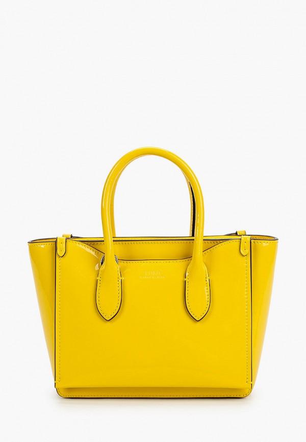 женская сумка с ручками polo ralph lauren, желтая