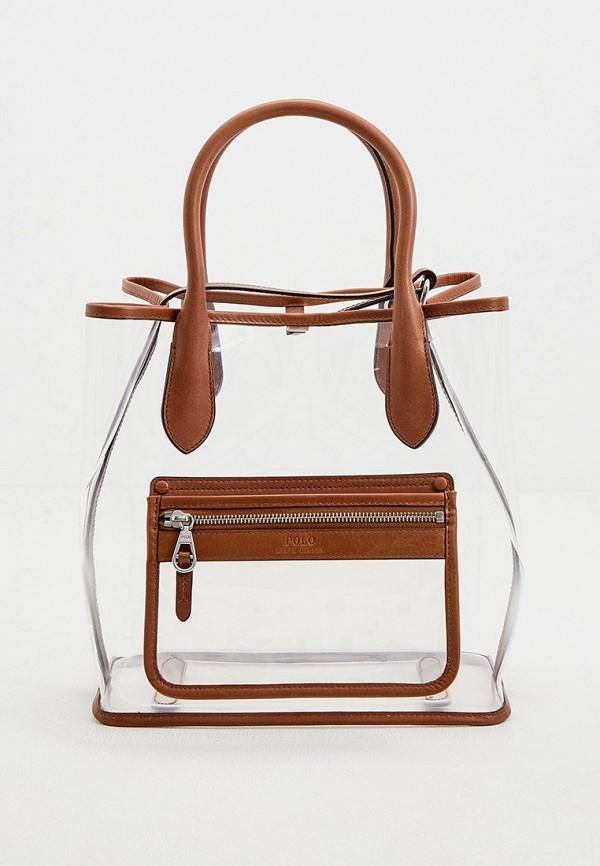 женская сумка-шоперы polo ralph lauren, коричневая