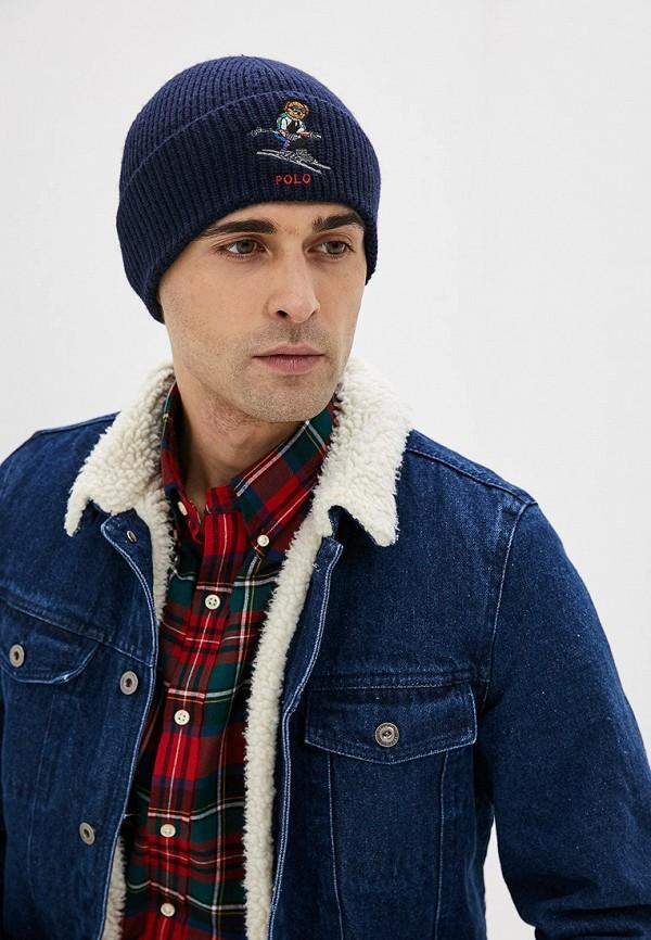 Фото 4 - мужскую шапку Polo Ralph Lauren синего цвета