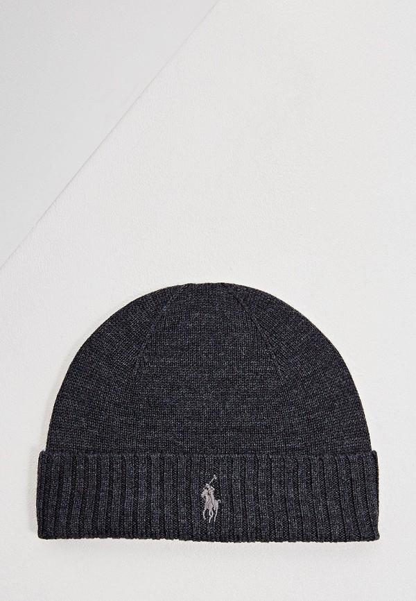 Фото - мужскую шапку Polo Ralph Lauren серого цвета