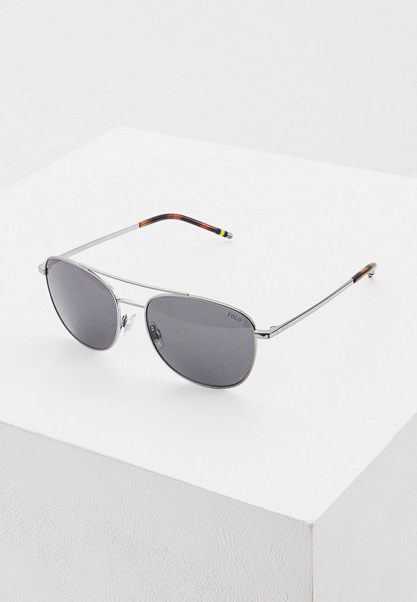 мужские авиаторы солнцезащитные очки polo ralph lauren, серебряные
