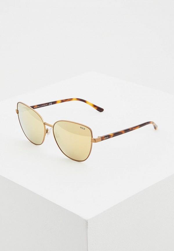 женские солнцезащитные очки кошачьи глаза polo ralph lauren, золотые