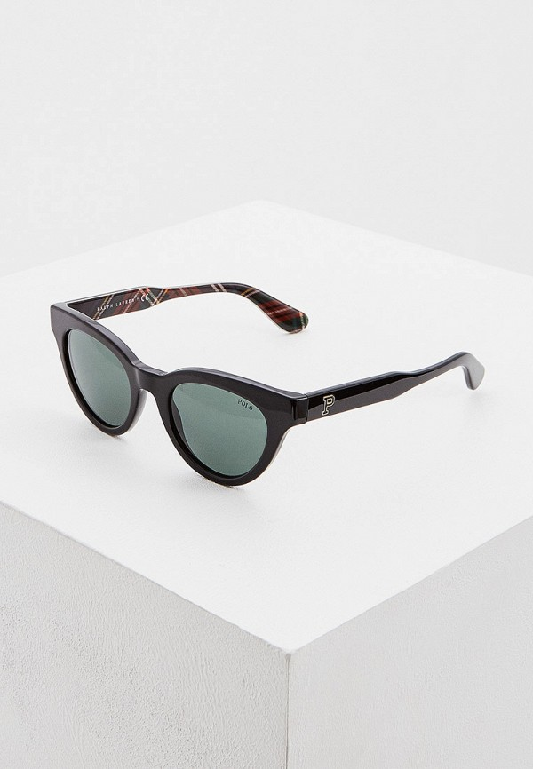 женские солнцезащитные очки кошачьи глаза polo ralph lauren, черные