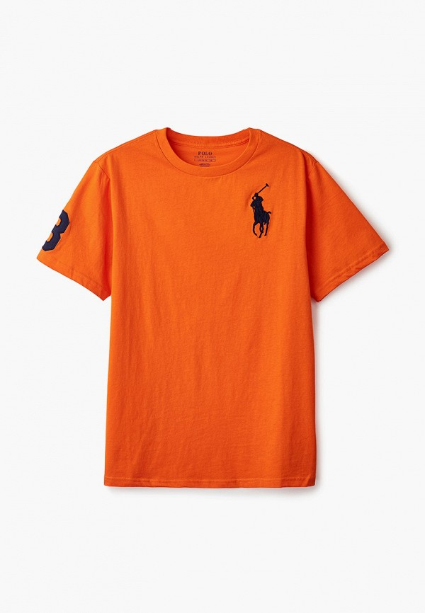 футболка с коротким рукавом polo ralph lauren для мальчика, оранжевая
