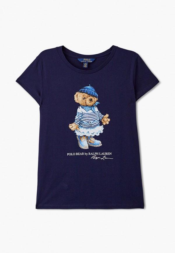 футболка с коротким рукавом polo ralph lauren для девочки, синяя