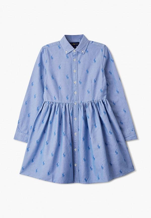 повседневные платье polo ralph lauren для девочки, голубое