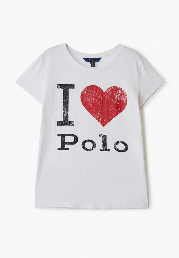 футболка с коротким рукавом polo ralph lauren для девочки, белая