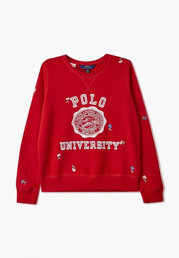 свитшот polo ralph lauren для девочки, красный