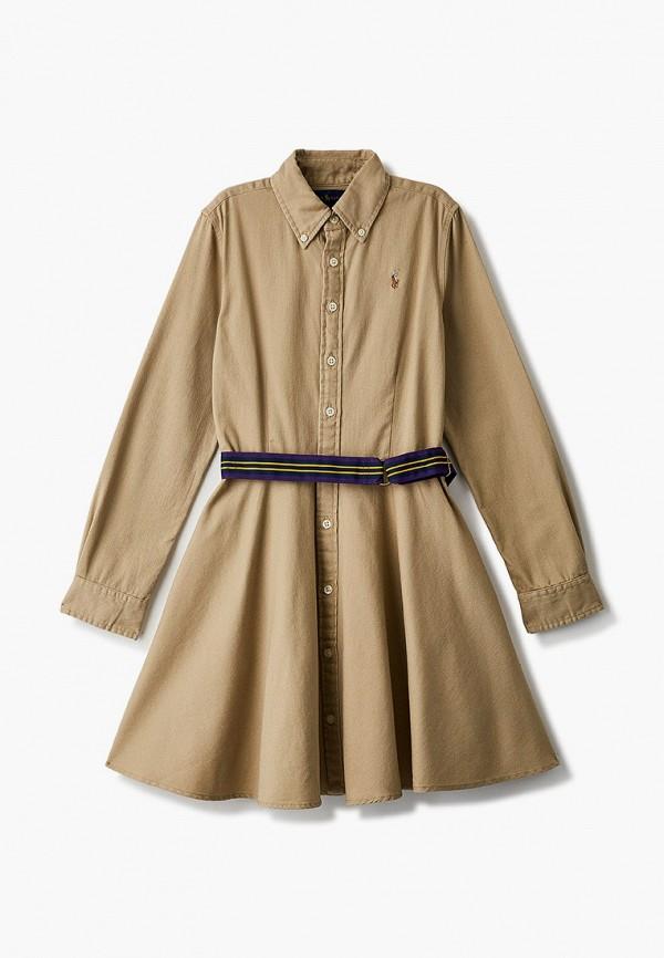 повседневные платье polo ralph lauren для девочки, бежевое
