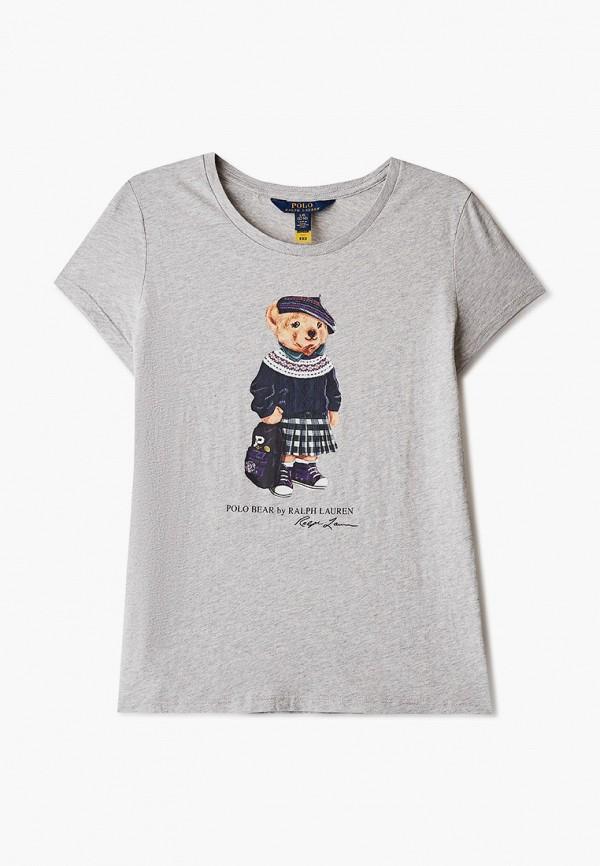 футболка с коротким рукавом polo ralph lauren для девочки, серая
