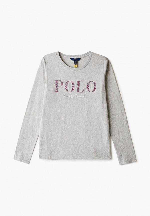 лонгслив polo ralph lauren для девочки, серый