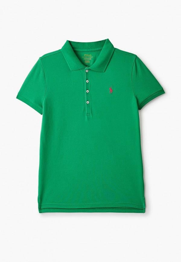 поло polo ralph lauren для девочки, зеленое