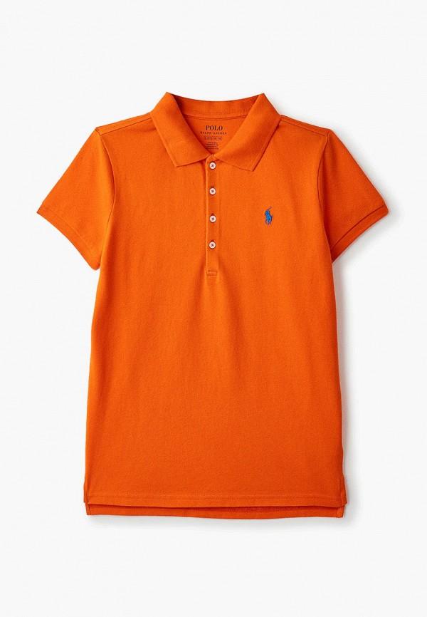 поло polo ralph lauren для девочки, оранжевое