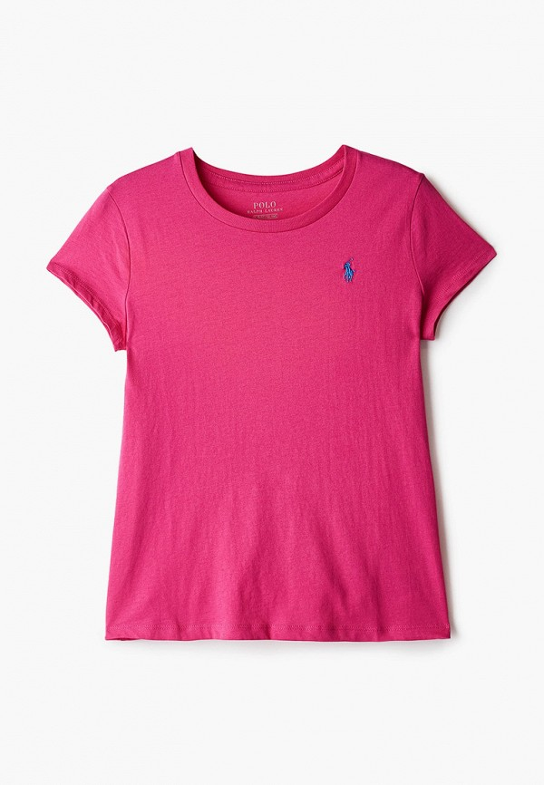 футболка с коротким рукавом polo ralph lauren для девочки, розовая