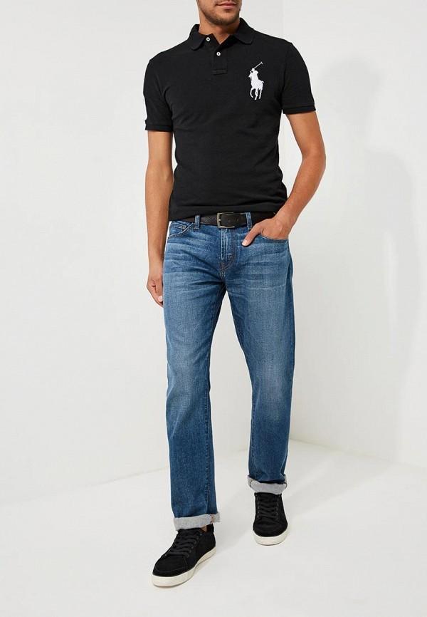 Фото 2 - мужское поло Polo Ralph Lauren черного цвета