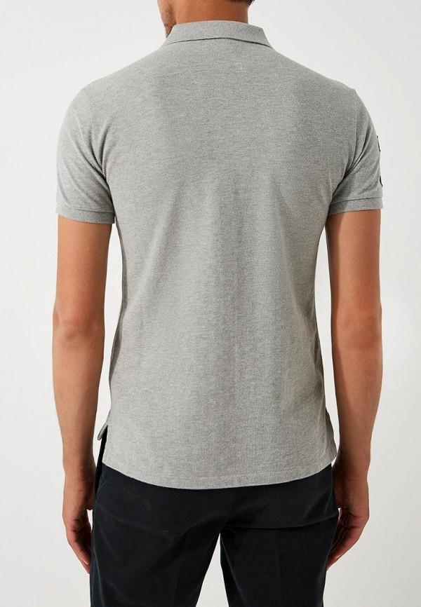 Фото 3 - мужское поло Polo Ralph Lauren серого цвета