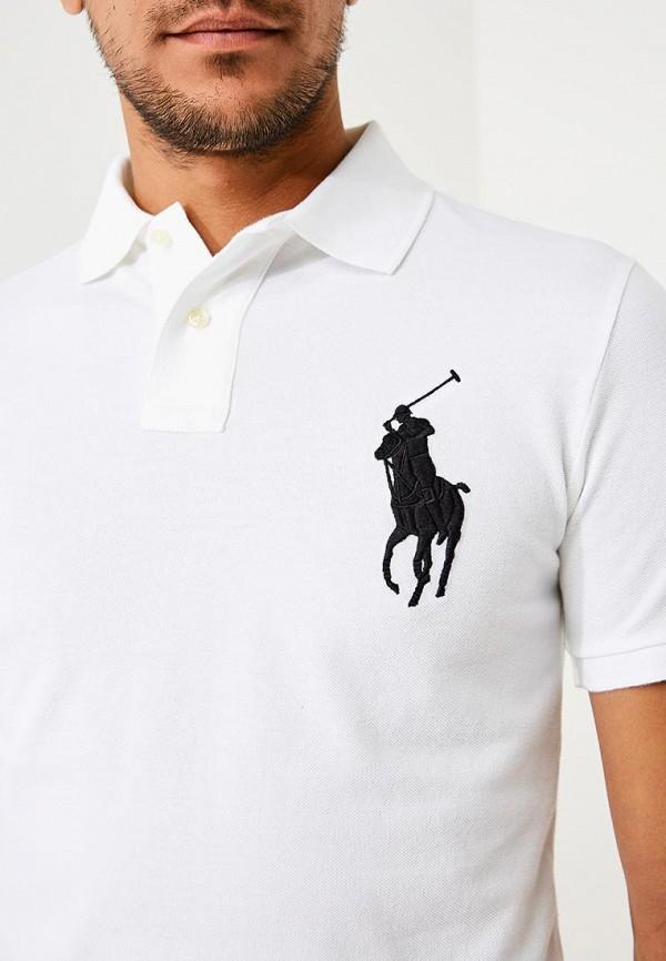 Фото 4 - мужское поло Polo Ralph Lauren белого цвета