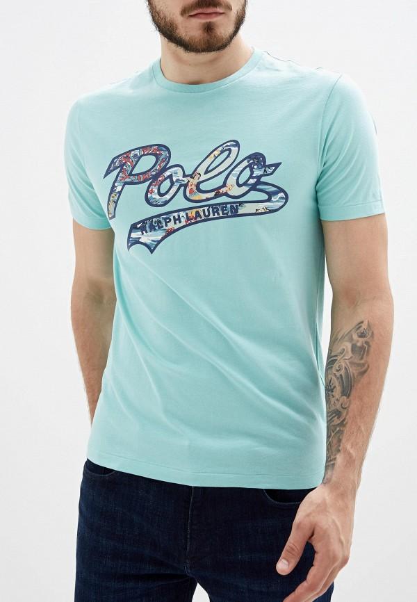 мужская футболка polo ralph lauren, бирюзовая